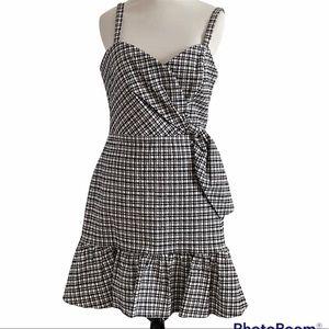 Parker black white plaid tank dress medium